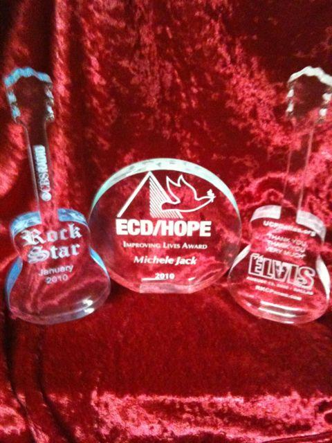 Rock Star acrylic awards in clear, jade or blue acrylic.