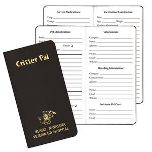 Imprinted with logo Critter Pal Pet Journal for marketing