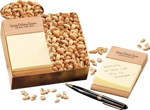 Logo on a wooden adhesive note holder with nuts.