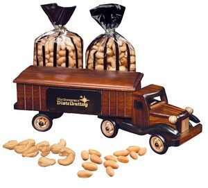 Wooden 18 wheeler with imprint for business food gifts.