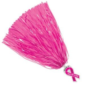 Pink pom poms for cheering on a team or other activities.