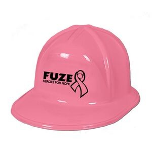 Pink hard hat for promoting cancer awareness.