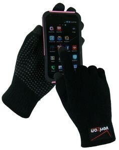 Texting gloves for smartphone with custom embroidery imprint.