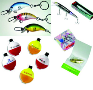 Fishing lures and bobbers for your marketing needs.